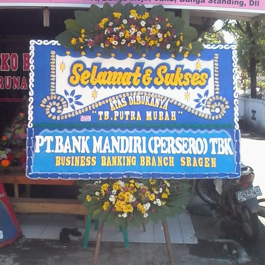 bunga ucapan selamat dan sukses bank mandiri di toko bunga karanganyra solo KRA SS03